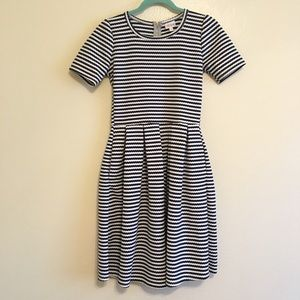 Lularoe Navy and White Striped Amelia Dress